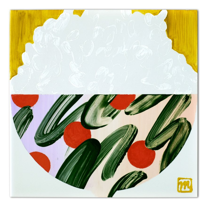 Painting on ceramic tile inspired by Japanese art of serving food