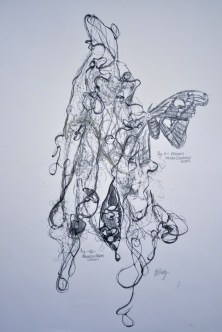 Attacus Atlas- fig. 11, Original Mono Print and Drawing Material: Pen Drawing and Mono Print on Paper (gold) Painted Silk, pressed and then re-worked in pen Size: A2 Price: £250 (unframed) Framed: £270