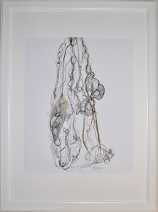 Attacus Atlas- fig. 33, Original Mono Print and Drawing Material: Pen Drawing and Mono Print on Paper (gold) Painted Silk, pressed and then re-worked in pen Size: A2 Price: £250 (unframed) Framed: £270