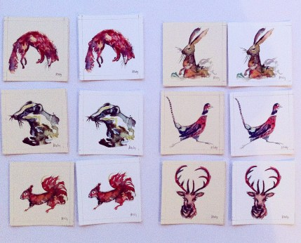 Mini British Wildlife painting commission, Watercolour