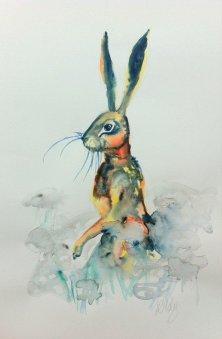 hare in daisy field