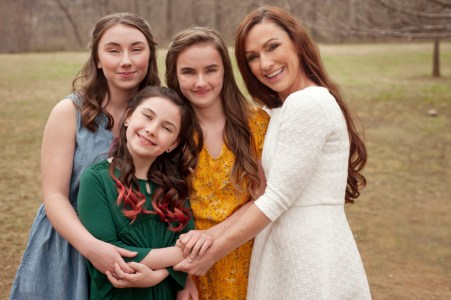 Portrait of mom and daughters in Baltimore, Maryland