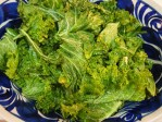 Krispy Kale Chips - covered in mixture