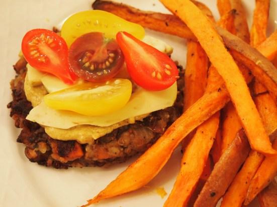 Black Bean Supreme Burger with Generation Sweet Potato Fries