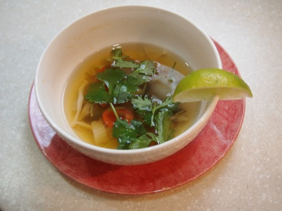 Fridge Surprise Thai Soup with garnish and lime