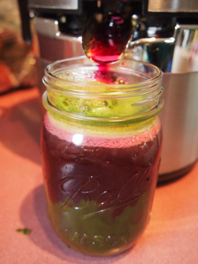 Adding beets to Green Juice makes it Red Juice and oh so colourful - Copyright Jo-Ann Blondin