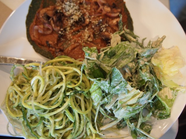Yum - Dinner. Zucchini noodles, raw vegan ceasar salad and raw pizza. Copyright Jo-Ann Blondin