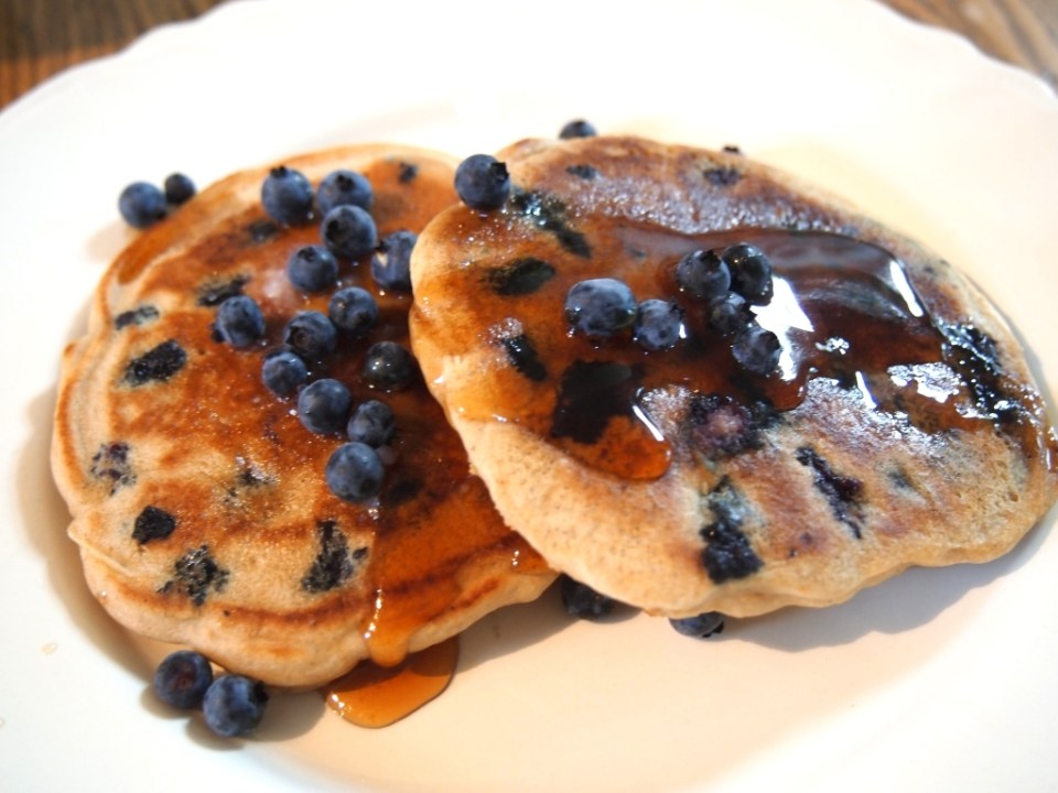 Super Moist Blueberry Pancakes – Gluten-free and Dairy-free. Copyright Jo-Ann Blondin