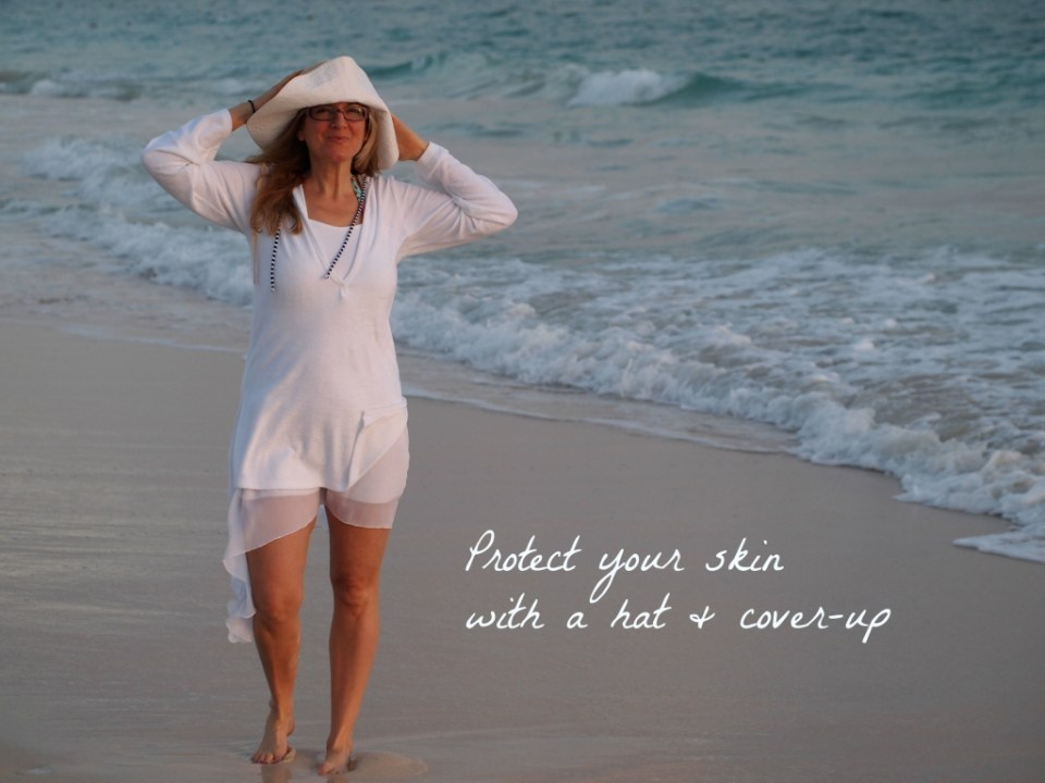 Protect your skin with a hat and cover-up Copyright Jo-Ann Blondin