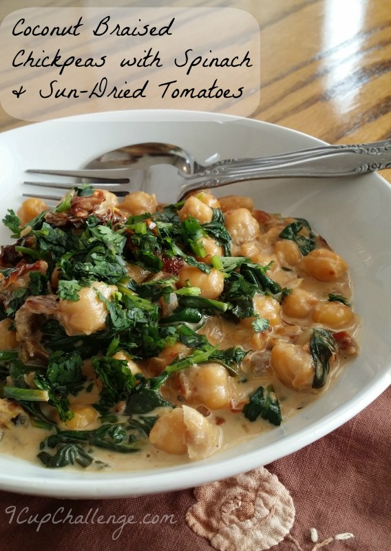 Coconut Braised Chickpeas with Sprinach & Sun-Dried Tomatoes