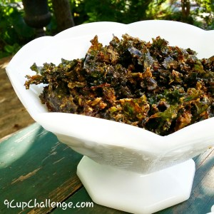 Kale Chips Hot and Smoky and Milk Glass 9CupChallenge.com