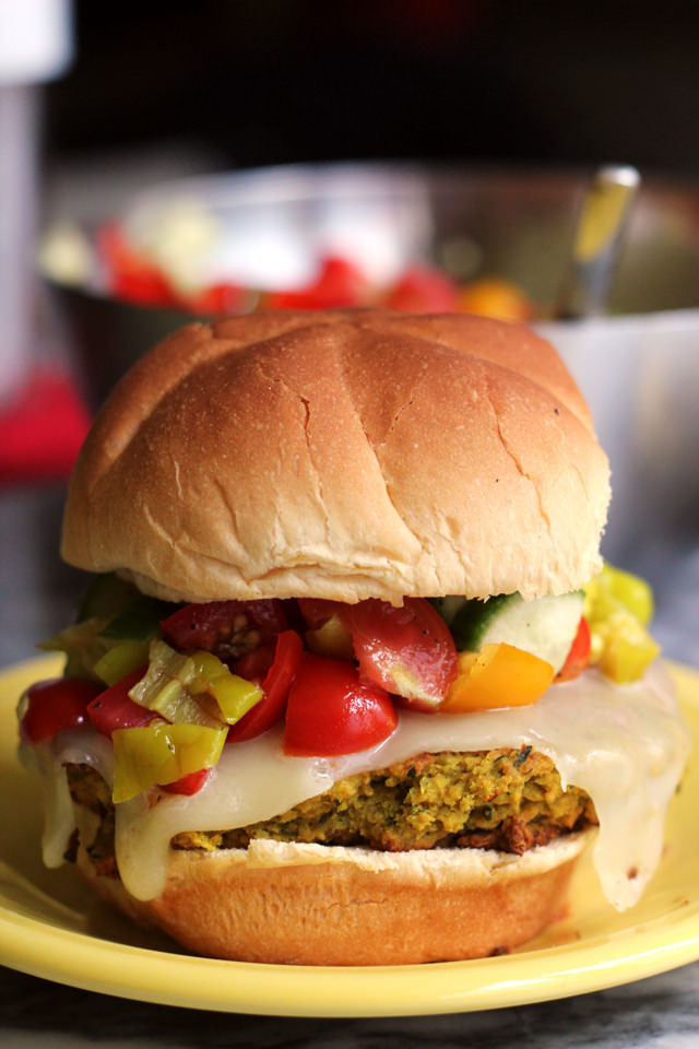 falafel burgers with pepperoncini salsa