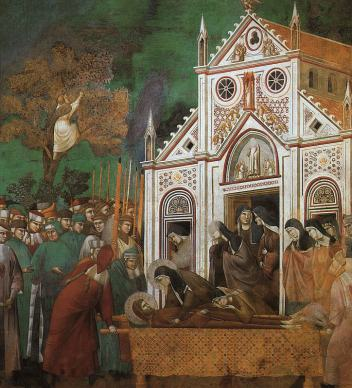 Giotto_-_Legend_of_St_Francis_-_-23-_-_St_Francis_Mourned_by_St_Clare