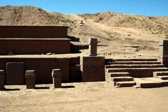 Bolivia Tiwanaku, oude tempelresten