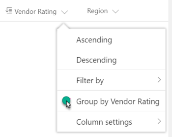 Column Dynamic Group by option