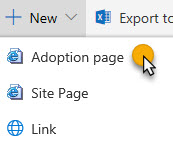 New Adoption Page ribbon