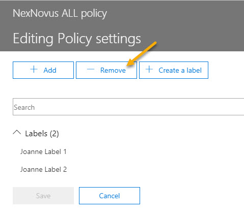 Remove label from Policy