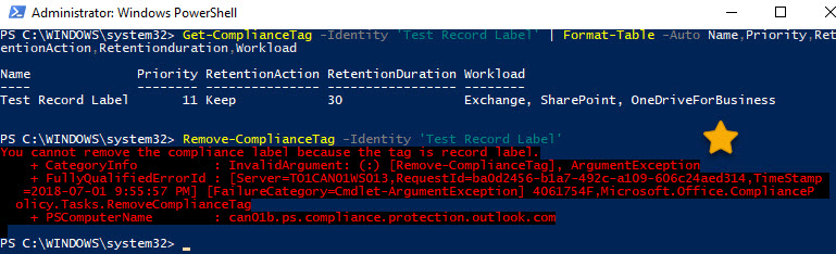 Removing a Record label with PowerShell