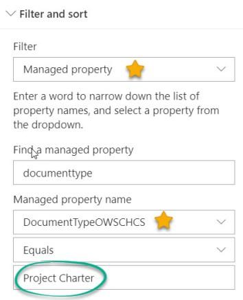 Managed Property Filter