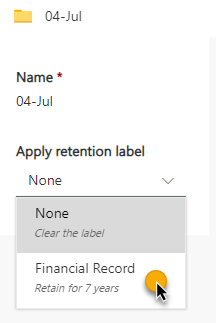 Apply retention label to fiscal month folder