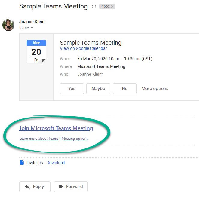 Sample gmail meeting invitation