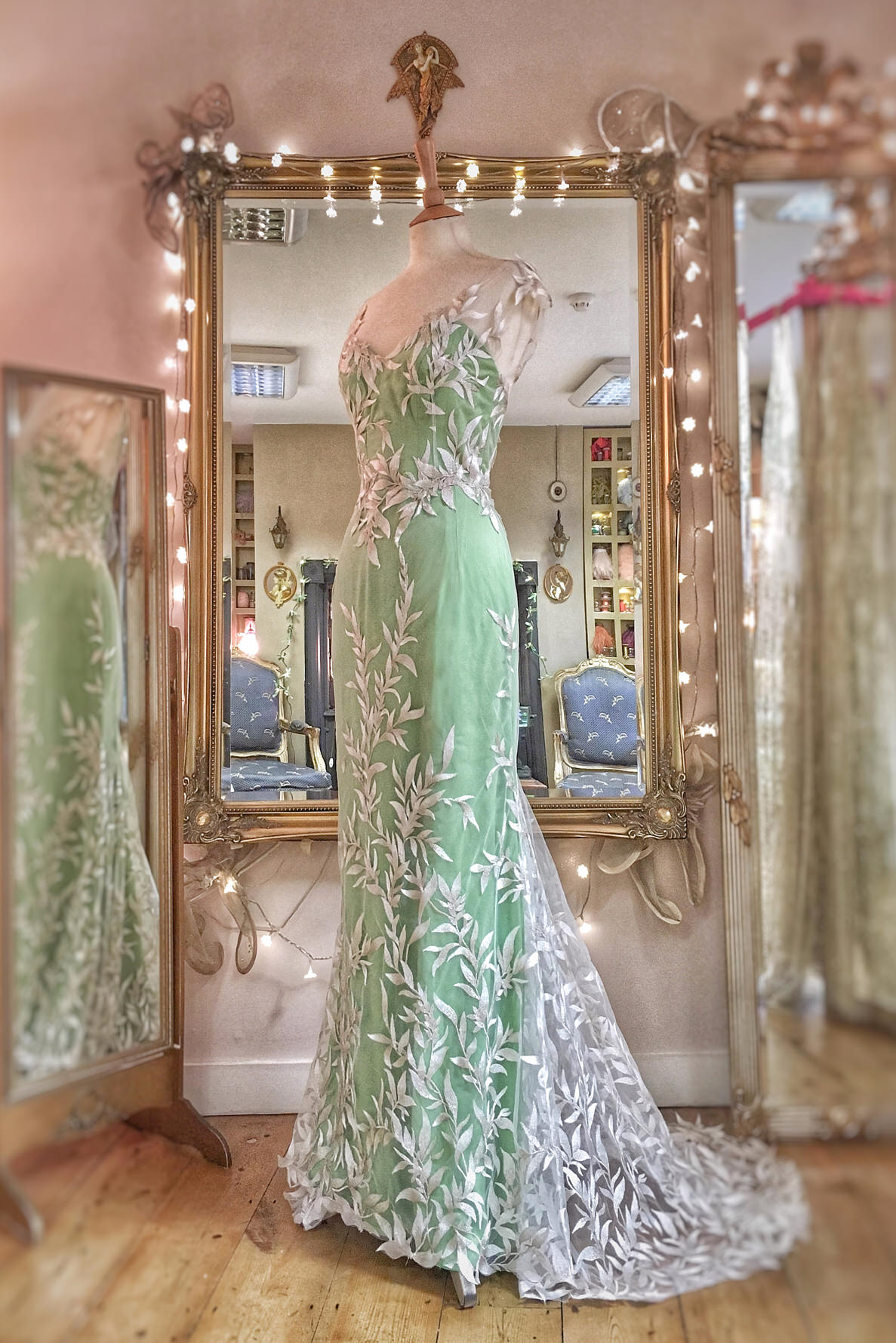 Embroidered Leaves Green Silk Wedding Dress With Silver