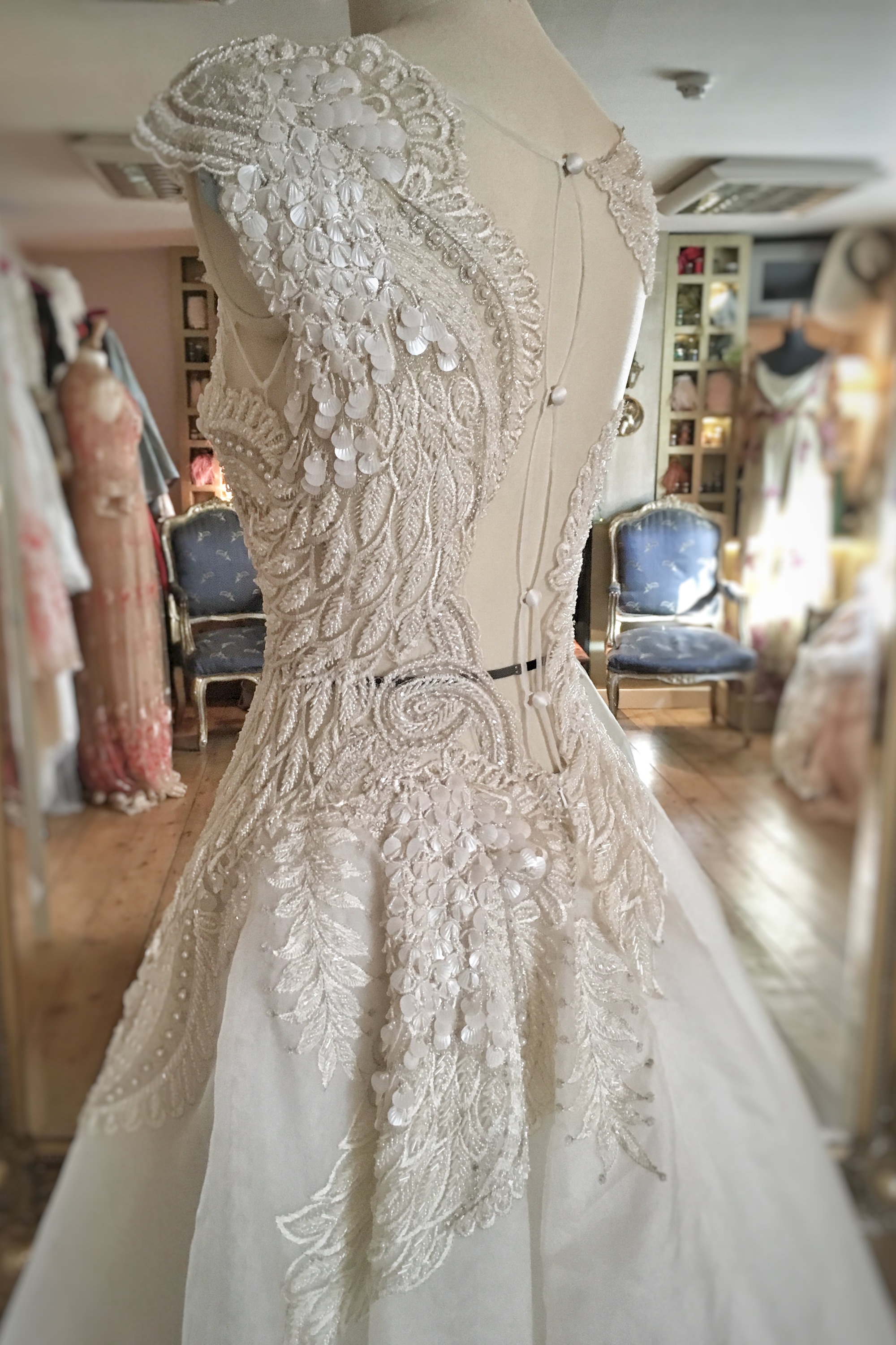 Beaded Feather Ballerina Wedding Dress with Swan Wing