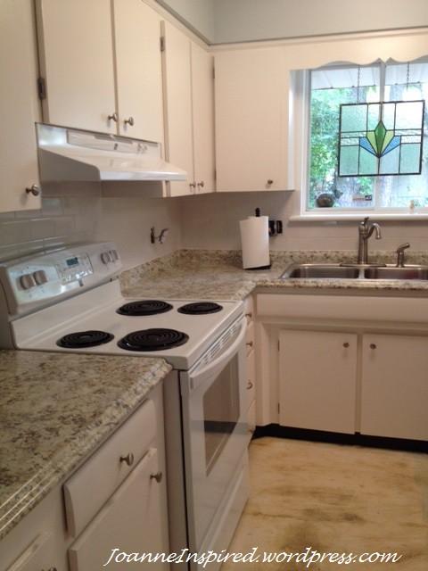 laminate kitchen countertops home depot glass tiles for backsplash budget white makeover – part 3 | joanne inspired