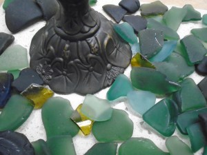 Antique base with lily pads shown with sea glass colors used in shade
