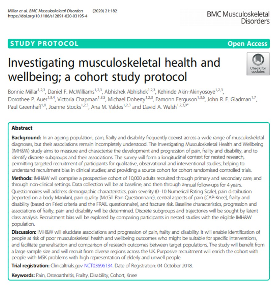 Investigating musculoskeletal health & wellbeing protocol 1