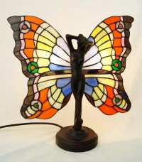 ART DECO BUTTERFLY ANGEL FAIRY TIFFANY STAINED GLASS LAMP ...