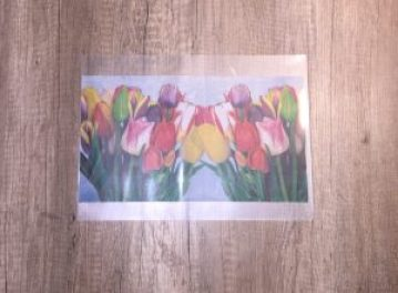 tulip napkin in laminated pouch to create laminated lamps