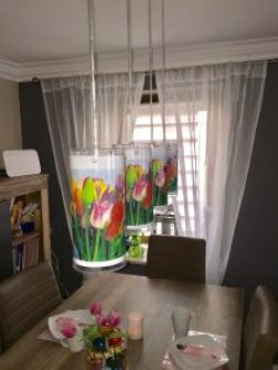 tulip laminated lampshades over table