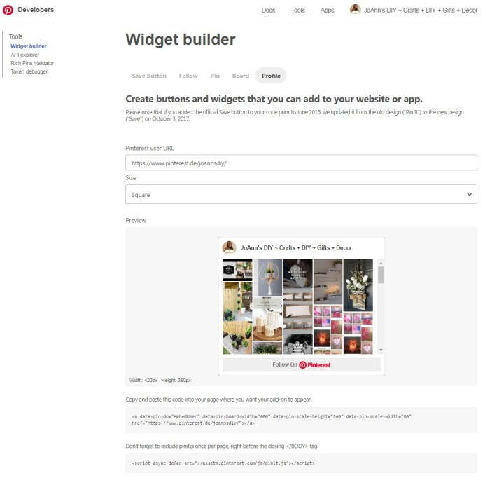 Pinterest Developers Widget builder Profil Button auf eigener Website einfügen