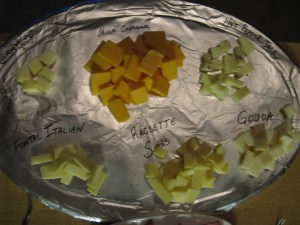 Labeled cheese tray