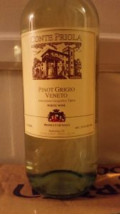 bottle of Conte Priola Pinot Grigio