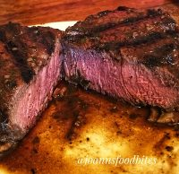 Pink center steak cut in half