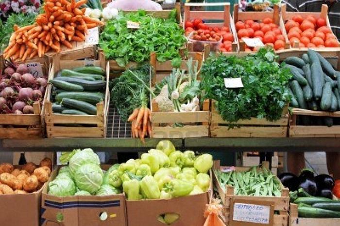 Farmer's market vegetables in crates