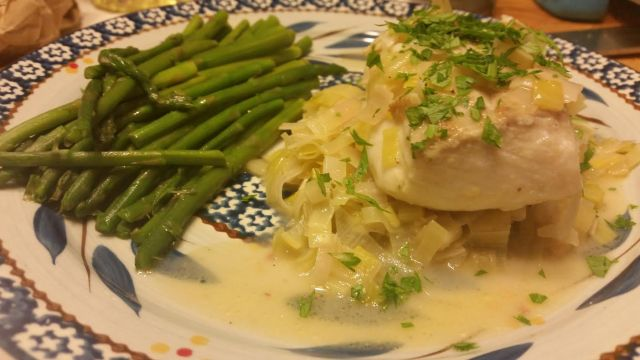 Presentation of Braised Halibut with Leeks