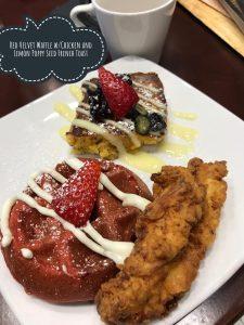 Terrace red velvet waffles chicken lemon poppy seed french toast