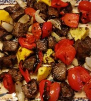 Grilled Steak Tips and red potatoes with a sour cream chive sauce recipe