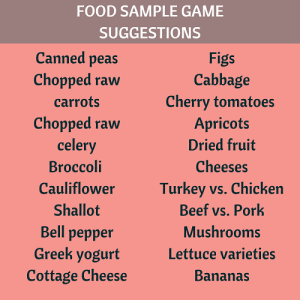 list of foods for a sample game
