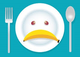 picky eater plate with banana frown