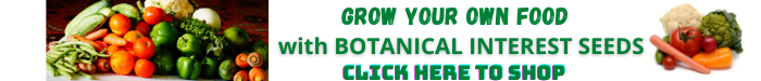 "vegetables with text ""grow your own food Botanical Interest seeds"""