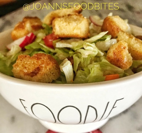 salad with croutons in a foodie bowl