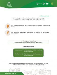 Desconexión servicio de energía viernes 17 de febrero en Puerto Patiño