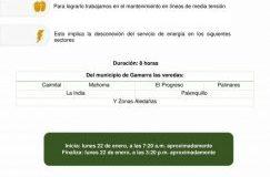 Desconexión del servicio de energía 8 horas lunes 22 de enero veredas de Gamarra