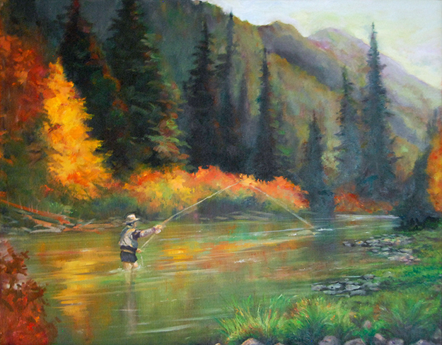 Image of an oil painting of a man fly fishing in a river with mountains, evergreens and autumn foliage in the background.
