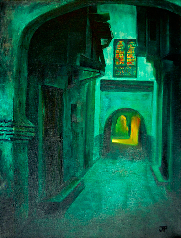 Image of an oil painting titled Marrakesh Medina, a dark green night scene with golden light streaming from a doorway and a well-light stained glass window