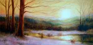 Image of an oil painting of a riverside scene on a winter morning, predominant golden yellow and mauve hues
